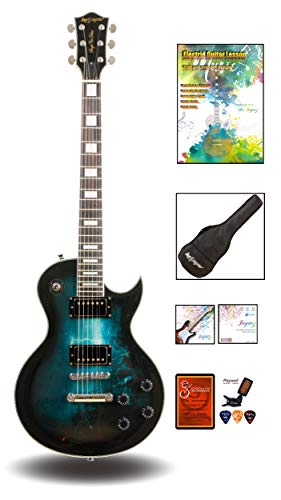 Leo Jaymz 24.75' Single Cut Curved Top Electric Guitar - with Gothic Graphic Design on Top - Grover...
