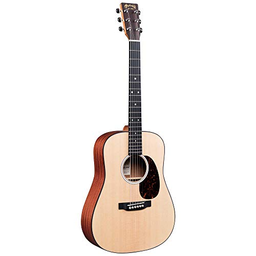 Martin Guitar DJr-10 Dreadnought Junior Guitar with Gig Bag, Sitka Spruce and Sapele Construction,...