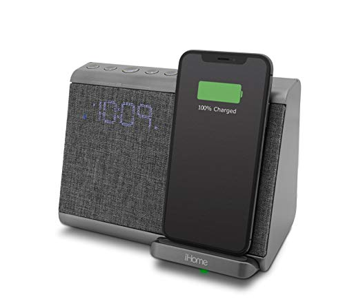 iHome iBTW39 Bluetooth Dual Alarm Clock with with USB and Qi Wireless Charging for iPhone 12, 11,...