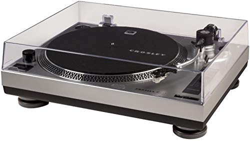 Crosley C100A-SI Belt-Drive Turntable with S-Shaped Tone Arm with Adjustable Counterweight, Silver