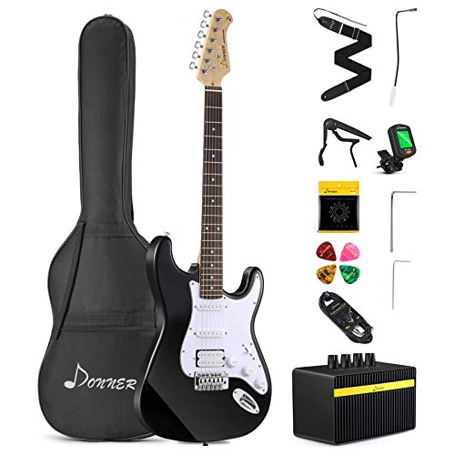 Donner DST-102B Solid Body 39 Inch Full Size Electric Guitar Kit Black, Beginner Starter, with...