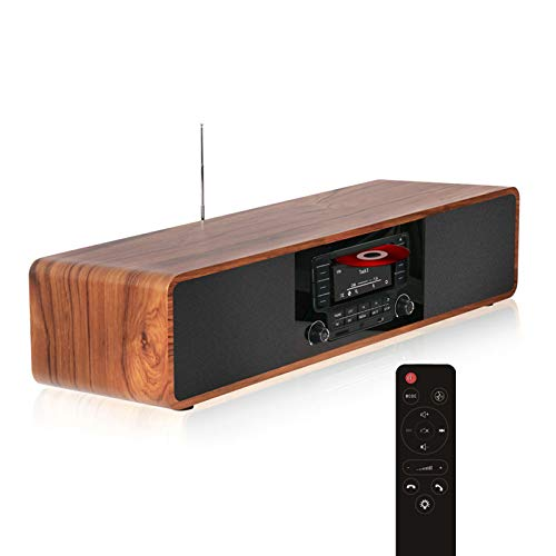 KEiiD CD Player for Home with Bluetooth Stereo System Wooden Desktop Speakers FM Radio USB SD AUX...