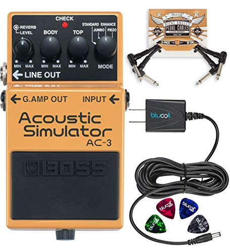 BOSS AC-3 Acoustic Simulator Pedal for Electric Guitars Bundle with Blucoil Slim 9V Power Supply AC...