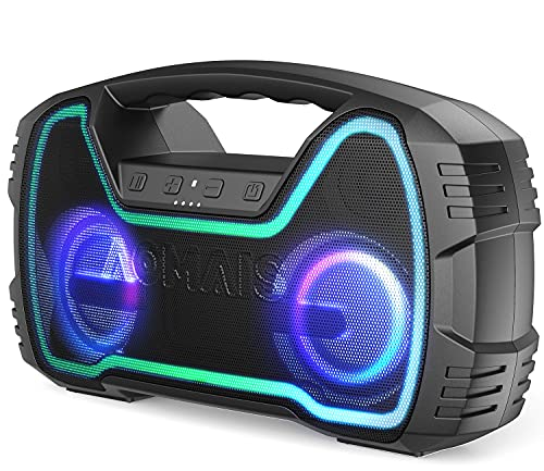 Portable Bluetooth Speaker, AOMAIS 40 Hrs Playtime Outdoor Waterproof Speakers with Lights, 25W...