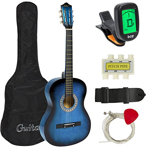 Best Choice Products 38in Beginner Acoustic Guitar Starter Kit w/Case, Strap, Tuner, Pick, Strings -...