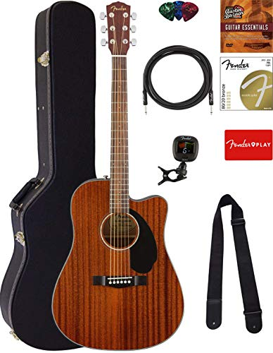 Fender CD-140SCE Dreadnought Acoustic-Electric Guitar - All Mahogany Bundle with Hard Case, Cable,...