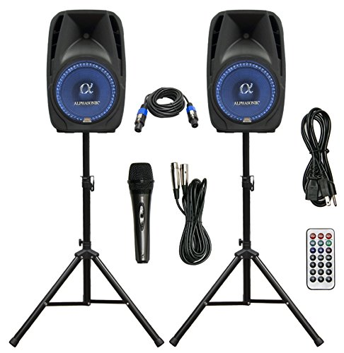 Pair Alphasonik All-in-one 10' Powered 1000W PRO DJ Amplified Loud Speakers with Bluetooth USB SD...