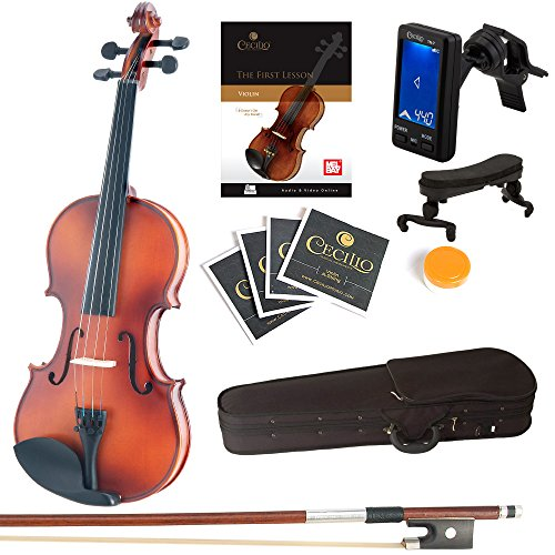 Mendini Full Size 4/4 MV300 Solid Wood Violin with Tuner, Lesson Book, Extra Strings, Shoulder Rest,...