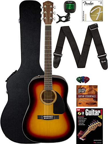 Fender CD-60 Dreadnought Acoustic Guitar - Sunburst Bundle with Hard Case, Strap, Tuner, Strings,...
