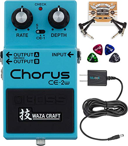 BOSS CE-2W Waza Craft Chorus Effects Pedal Bundle with Blucoil Slim 9V Power Supply AC Adapter,...