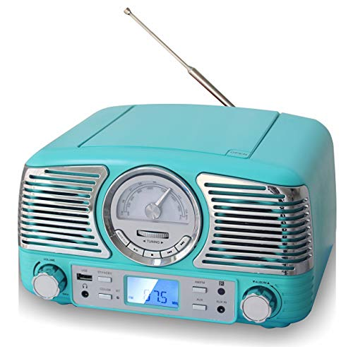TechPlay QT62BT, Retro Design Compact Stereo CD, with AM/FM Rotary knob, Wireless Bluetooth...