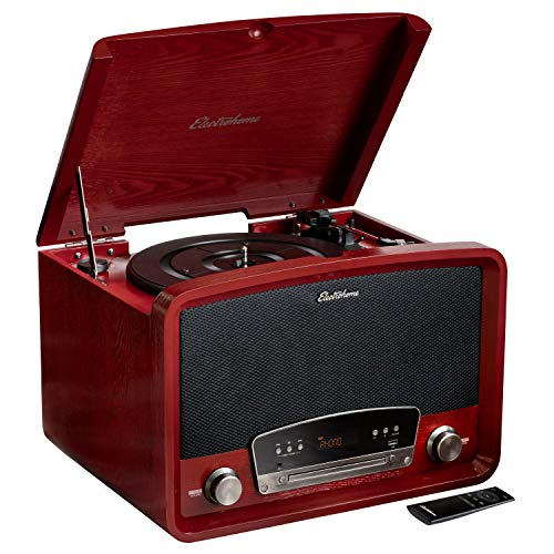 Electrohome Kingston 7-in-1 Vintage Vinyl Record Player Stereo System with 3-Speed Turntable,...