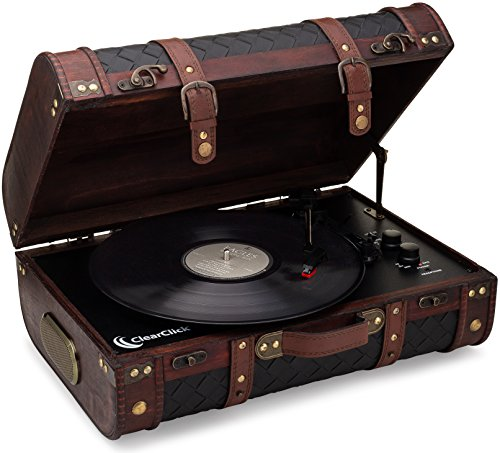ClearClick Vintage Suitcase Turntable with Bluetooth & USB - Classic Wooden Retro Style