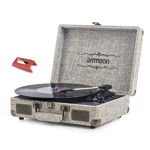 Vinyl Record Player, ammoon 3 Speed Turntable Blue Tooth Record Player with 2 Built in Stereo...