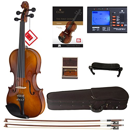 Cecilio Violin For Beginners - Beginner Violins Kit For Student w/Case, Rosin, 2 Bows, Tuner, First...