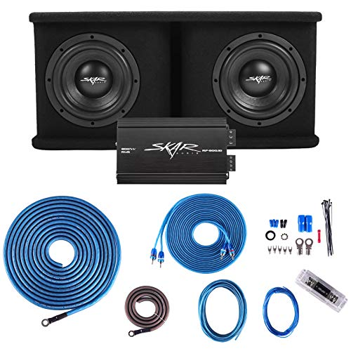 Skar Audio Dual 8' Complete 1,400 Watt SDR Series Subwoofer Bass Package - Includes Loaded Enclosure...