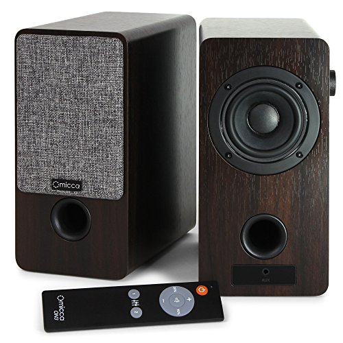 Micca ON3 3-Inch Powered Bookshelf Speakers with Remote Control, 48 Watts (24W x 2) RMS Power, Front...
