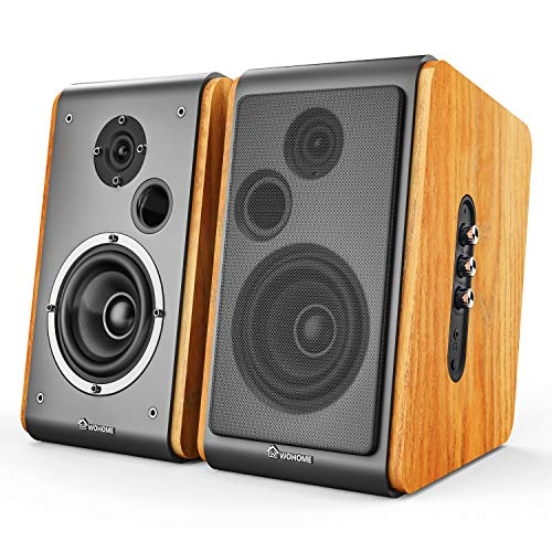 Wohome Bookshelf Speakers 60W Powered Bluetooth Active Home Theater Speaker (Pair, Wooden Enclosure,...