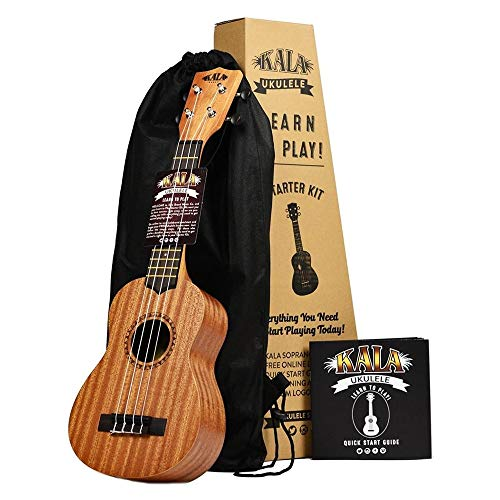 Official Kala Learn to Play Ukulele Soprano Starter Kit, Satin Mahogany – Includes online lessons,...