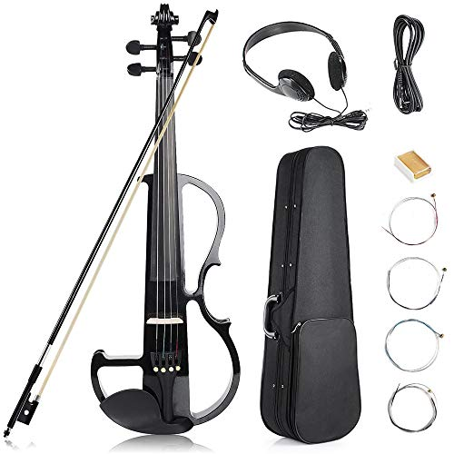 Vangoa - Black Full Size 4/4 Vintage Solid Wood Metallic Electronic Silent Mahogany Violin with...