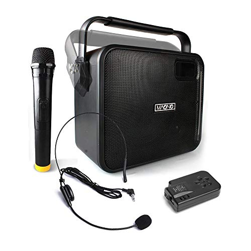 Wireless PA System with Wireless Mic&Headset Mic Karaoke Machine, Portable Rechargeable 20W Party...