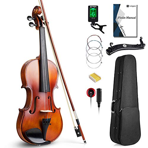 Vangoa 4/4 Full Size Solid Wood Violin Set, Spruce Top Ebony Fitted Beginner Acoustic Violin Fiddle...