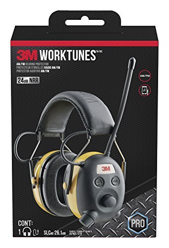 3M WorkTunes AM/FM Hearing Protector with Audio Assist Technology, 24 dB NRR, Ear protection for...