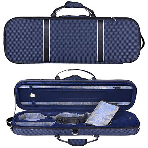 4/4 Full Size Hard Violin Case Professional Oblong with Built-in Hygrometer Lightweight Portable...
