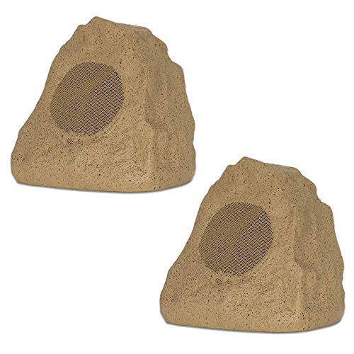 Theater Solutions 2R4S Outdoor Sandstone Rock 2 Speaker Set for Yard Patio Pool Spa
