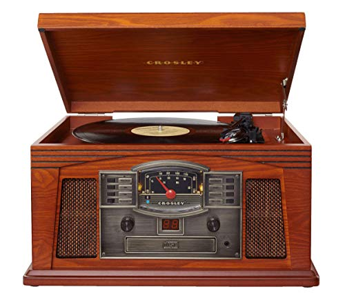 Crosley CR42D-PA Lancaster 3-Speed Turntable with Radio, CD/Cassette Player, Aux-in and Bluetooth,...