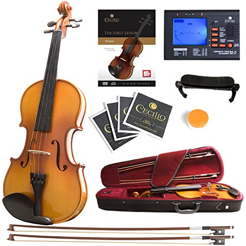 Mendini MV400 Ebony Fitted Solid Wood Violin with Tuner, Lesson Book, Hard Case, Shoulder Rest, Bow,...