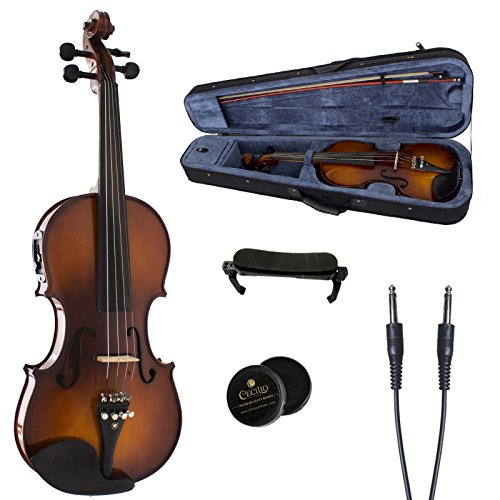 Cecilio 4/4 CVNAE-330 Ebony Fitted Acoustic/Electric Violin in Antique Varnish (Full Size)