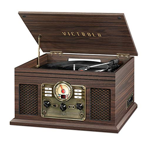 Victrola Nostalgic 6-in-1 Bluetooth Record Player & Multimedia Center with Built-in Speakers -...