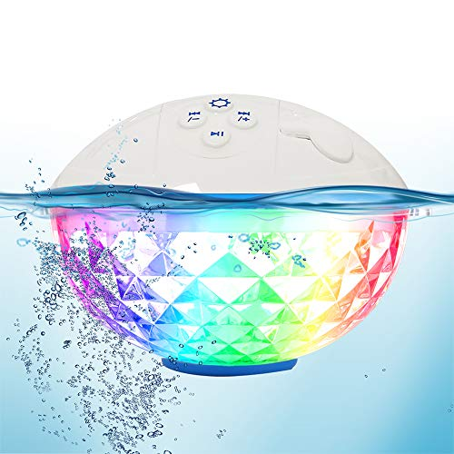 Bluetooth Speakers with Colorful Lights, Portable Speaker IPX7 Waterproof Floatable, Built-in...