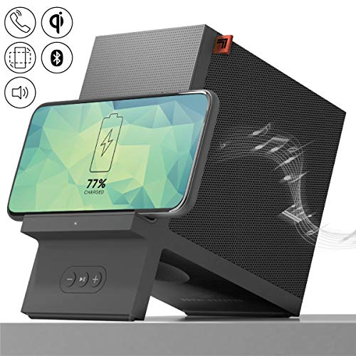SHARPER IMAGE Wireless Qi Charging Dock with Bluetooth Speaker, Wirelessly Charge Compatible...