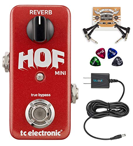 TC Electronic Hall of Fame Mini Reverb Pedal with TonePrint Bundle with Blucoil Slim 9V Power Supply...