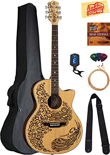 Luna Henna Paradise Select Spruce Acoustic-Electric Guitar Bundle with Gig Bag, Strap, Strings,...