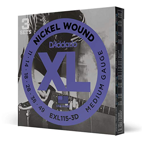 D'Addario Nickel Wound Electric Guitar Strings, 3-Pack, Med. Blues Jazz Rock, 11-49
