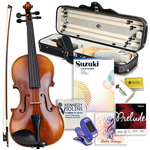 Antonio Giuliani Primo Violin Full Size (4/4) Bundle By Kennedy Violins - Carrying Case and...
