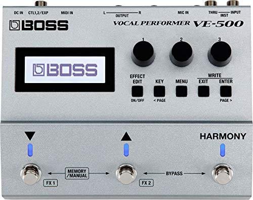 BOSS Vocal Performer Effects Processor Guitar Pedal (VE-500), Silver