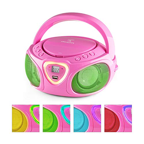 auna Roadie • Kids Portable Boombox with CD Player and Radio • LED Light • AM/FM Radio •...