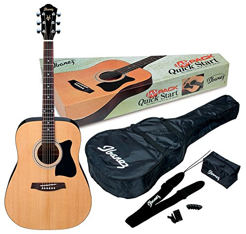 Ibanez 6 String Acoustic Guitar Pack, Ambidextrous, Natural Gloss (IJV50)
