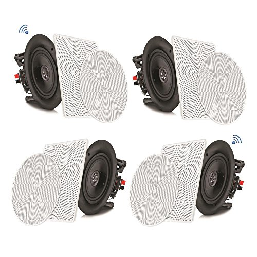 "Pyle 8"" 4 Bluetooth Flush Mount - In-wall In-ceiling 2-Way Speaker System Quick Connections..."