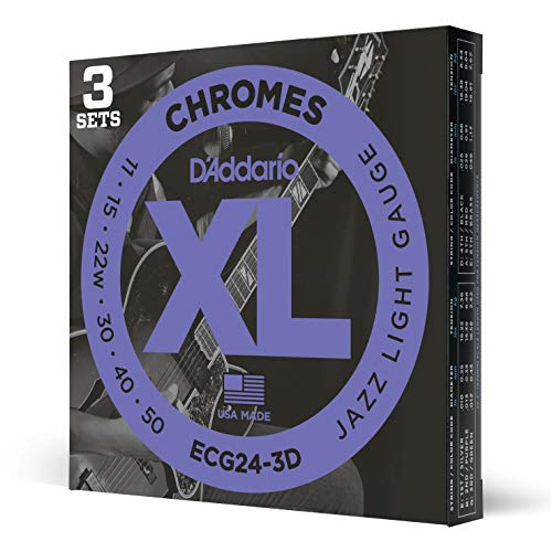 D'Addario ECG24 Chromes Flat wound Electric Guitar Strings, Jazz Light, 11-50, 3 Sets (ECG24-3D)