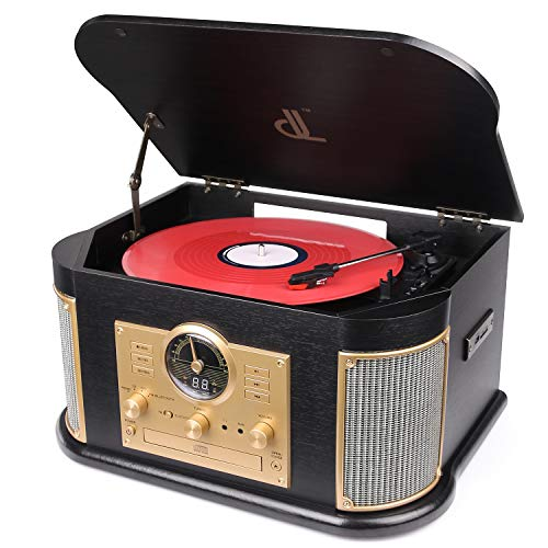 Bluetooth Record Player, dl Vintage Turntable 3-Speed Vinyl Record Player with 2x9W Speakers/CD/FM...