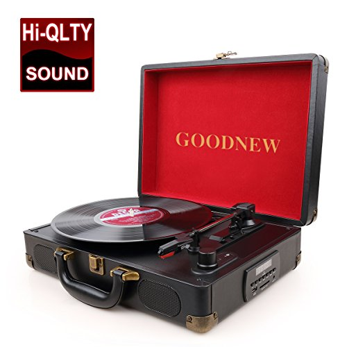 GoJiaJie Vinyl Record Player Turntable with Built in Speakers Support Headphone & RCA Output and AUX...