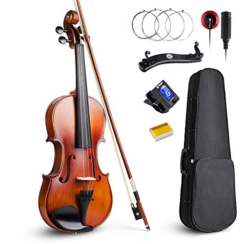 Vangoa Acoustic Violin 4/4, Spruce Top & Ebony Fitting, Solid Wood Violin Outfit for Beginners, 4/4...