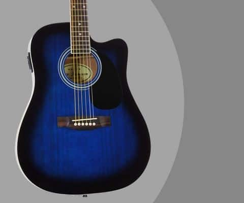 Blue Full Size Thinline Acoustic Electric Guitar