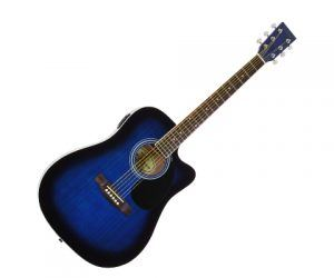 Blue Full Size Thinline Acoustic Electric Jameson Guitar