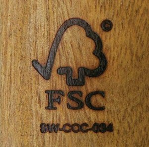 A piece of wood stamped with the FSC logo.
